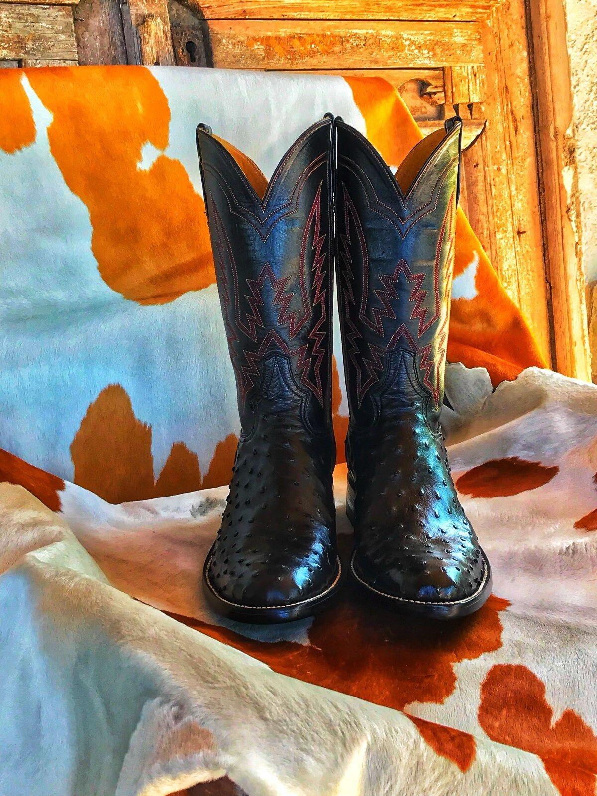 New Men's Black OstrichCowboy Boots
