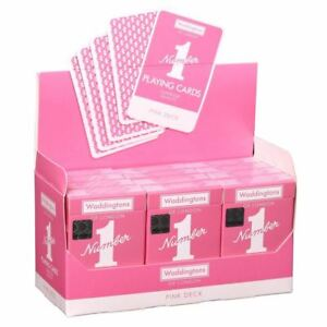 Waddingtons-No-1-Classic-Pink-Playing-Cards-Casino-Poker-Game-Linen-Finish