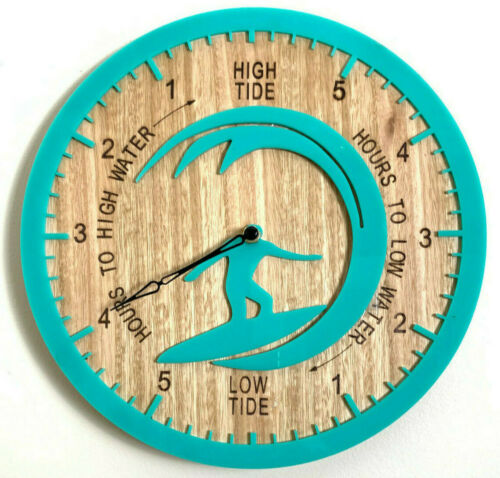 Tide Clock Australian Made Tasmanian Oak Wood Sea Green Surf on Wave Art Design