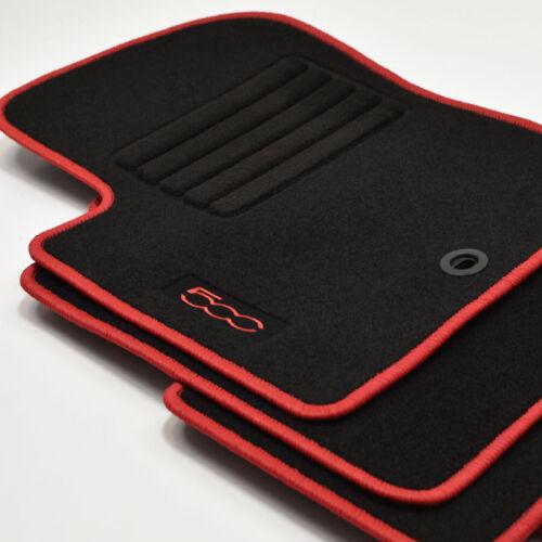 Logotipo gamuza tapices para Fiat 500 500 convertible a partir del año 2007-2013 rojo