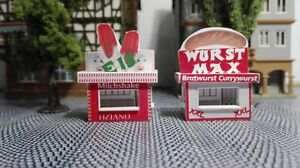 2 Kirmesbuden Eis und Currywurst   Spur H0    Kirmes   Rummel   Volksfest  1:87