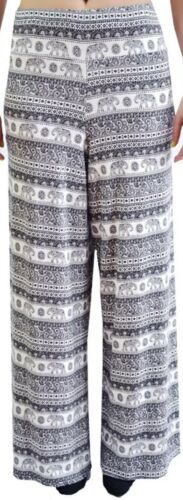 Femme Palazzo Pantalon Imprimé Leggings Femmes Taille plus large évasé 8-18