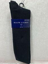 NEW Ralph Lauren Ladies Socks Ribbed Wool Blend w// Polo Pony Black