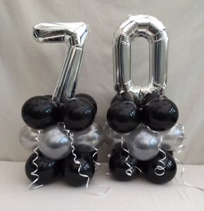 Image Is Loading 70th Birthday Balloon Kit Black And Silver Table