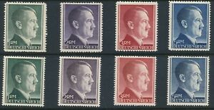 Stamp-Germany-Mi-799A-B-802A-B-Sc-524-7-1941-WW2-3rd-Reich-Hitler-Head-Set-MNH