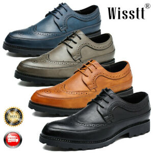 Men-039-s-Oxfords-Brogue-Leather-Formal-Carved-Dress-Lace-up-Wing-Tip-Wedding-Shoes
