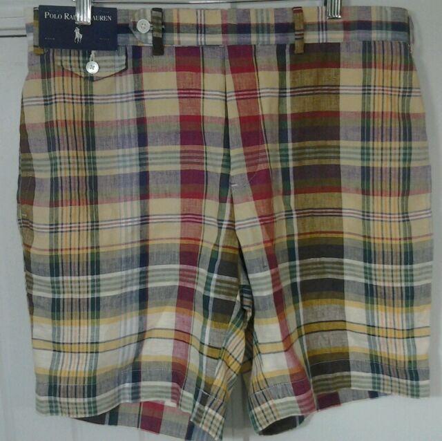 POLO RALPH LAUREN Authentic Indian Madras Linen Shorts Mens 34 Plaid New