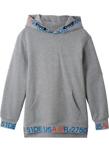Kapuzen-Sweatshirt-in-Longform-Gr-164-170-Hellgrau-Jungen-Sweat-Shirt-Neu