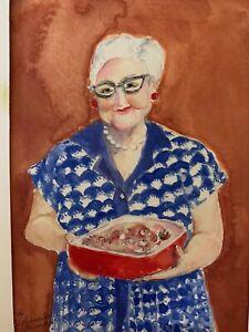 Original Watercolor Painting Of Grandma Baking A Casserole Folk Art