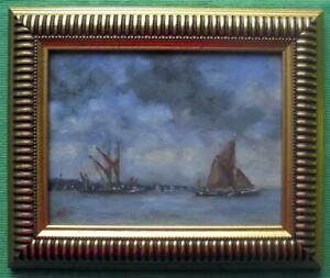 Sailing-Barges-Orwell-Original-Framed-Impressionist-Oil-Painting-David-Baxter