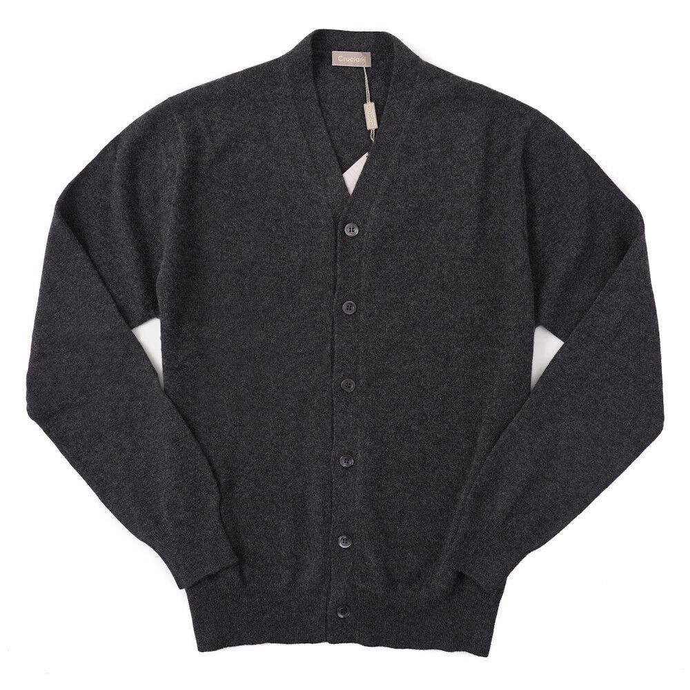 NWT 900 CRUCIANI Charcoal grau Extrafine Cashmere Cardigan Sweater XXL (Eu 56)