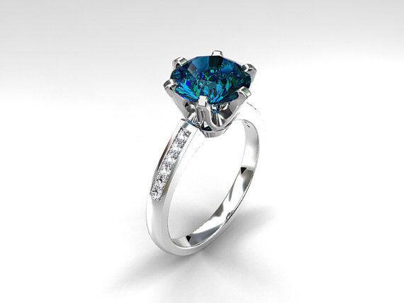Certified 2.25Ct Aqua bluee Round Diamond 14K Whitegold Engagement & Wedding Ring