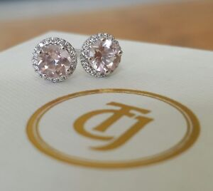 0-10tcw-Diamond-amp-0-80tcw-Morganite-Stud-Earrings-18ct-18k-Solid-White-Gold-CTJ
