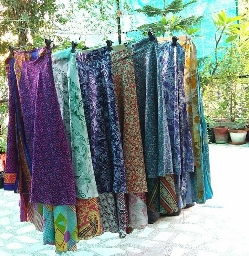 10 Stück Packung Vintage Seide Sari Wickelrock Böhmisch Magic Rock Hippie Sarong