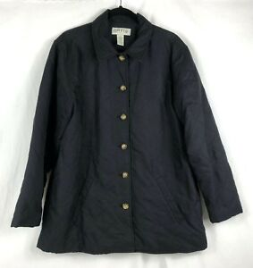 ORVIS-Womens-Quilted-Black-Coat-Jacket-Button-Up-Lined-Size-Large