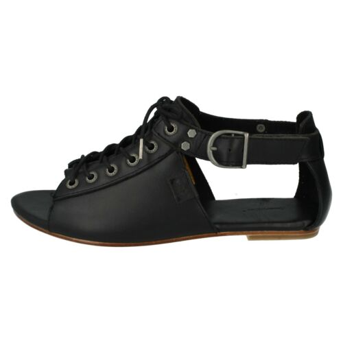 LADIES MEGHAN LEATHER SHOES FLAT OPEN TOE LACE UP STRAPPY SANDALS CATERPILLAR