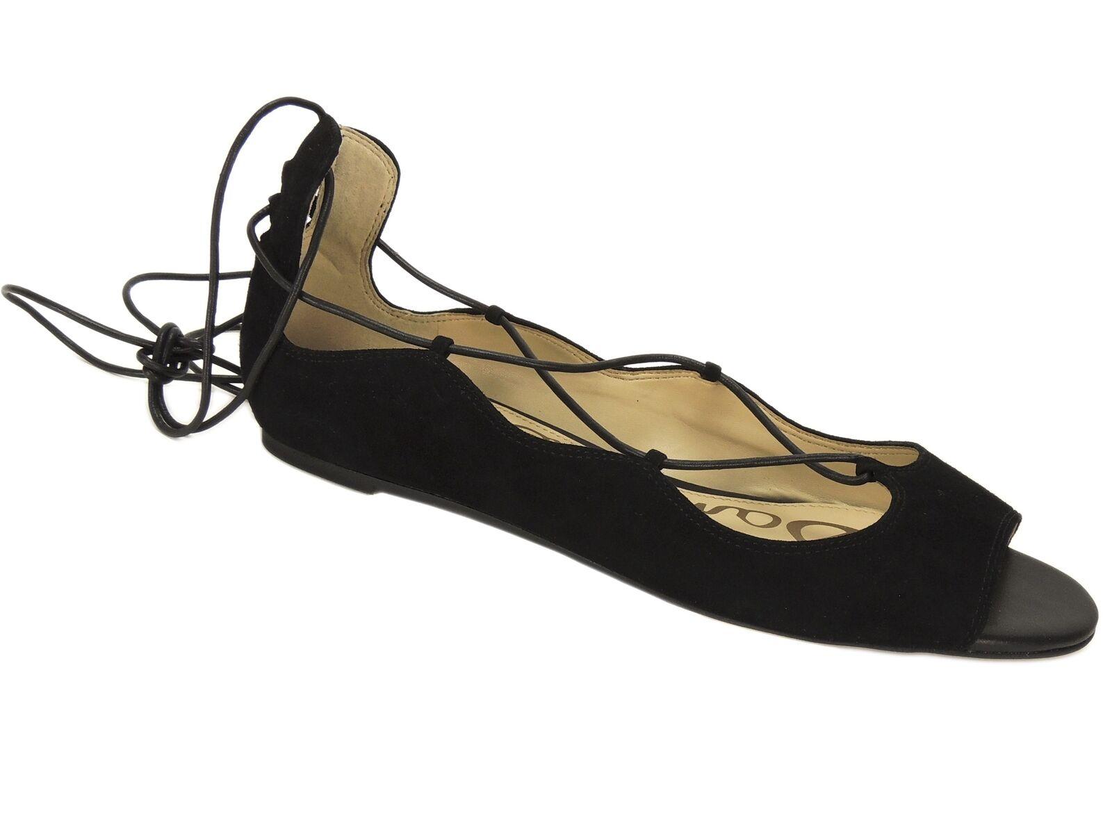 Sam Edelman Women's Barbara Peep Toe Ghillie Flats Flats Flats Black Suede Size 10 M 7239e9