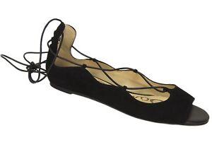 e73de5c6bbe4 Sam Edelman Women s Barbara Peep Toe Ghillie Flats Black Suede Size ...