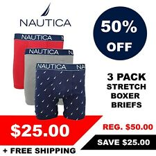 Nautica Men's 3 Pack of Assorted Stretch Boxer Briefs (Retail $50)