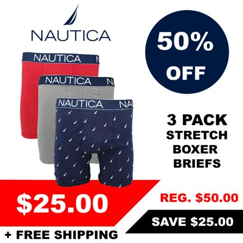Retail $50 Nautica Men/'s 3 Pack of Assorted Stretch Boxer Briefs