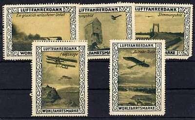 Luftfahrt & Zeppelin Vignette: 5 Vignetten Aus Der Serie Luftfahrerdank #6394 Kunden Zuerst