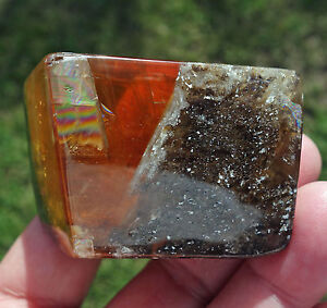 Yellow-Honey-CALCITE-Crystal-Point-Free-Form-from-India-in-Original-Matrix