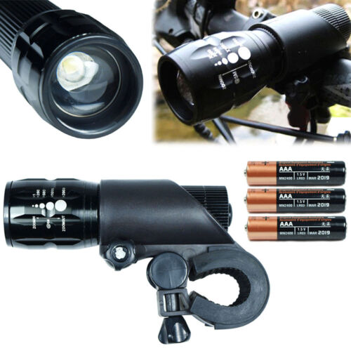 Cycling Bike Bicycle LED Front Head Light Detachable Zoom Flashlight with Mount