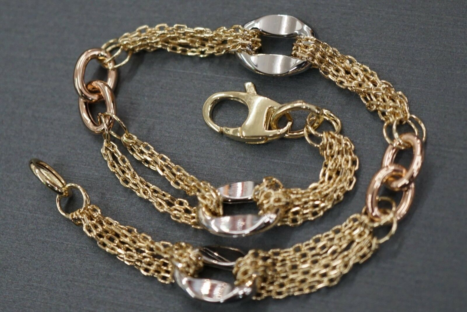 14K Solid Yellow gold Tri color Fancy Hollow Polished Chain Bracelet  ()