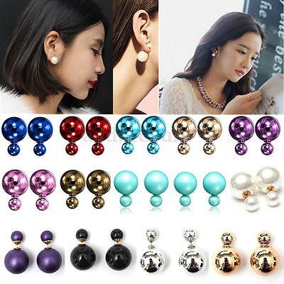 2017 Fashion Jewelry Double Sided Pearl Earrings Ear Stud Big Ball Beads