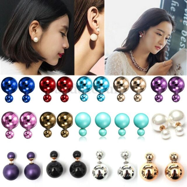 2017 Fashion Jewelry Double Sided Pearl Earrings Ear Stud Big Ball Beads