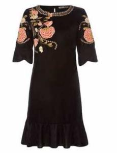 BiBa-Bohemian-Grande-Velvet-Black-FLoral-Dress-Ladies-Size-UK-18-REF170
