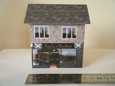Mettere In Guardia Scratch Built Card Model Railway Building House Barber Shop 00 Gauge In Viaggio