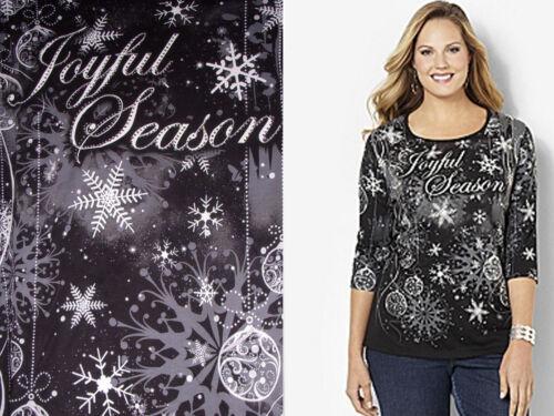 Season Ornament Blk 1x Rhinestone 18 Joyful Top Tee Nwt 4 20 Slv Snowflake 3 CfXx0qXwR