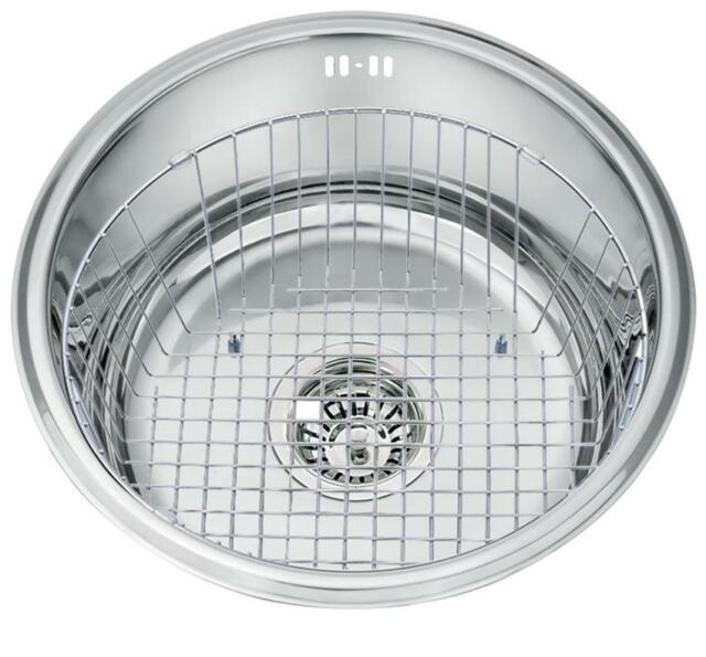 Round Single Bowl Undermount Stainless Steel Kitchen Sink Wire Basket L45a