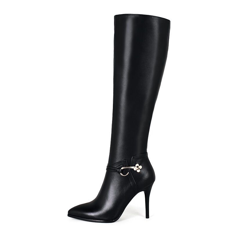 Womens Shoes Genuine Leather Stilettos High Heels Zip Up Knee Boots US Size b060