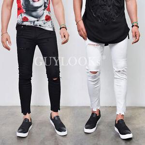 Kife Damage Destroyed Cut Mens Black White Slim Skinny Span Ankle ...