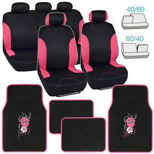 Blackpink car seat covers for auto pink hibiscus flower floor image is loading black pink car seat covers for auto amp mightylinksfo