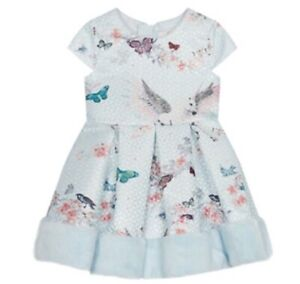 0b113ceb4 Ted Baker Pegasus Girls' Light Blue Floral Print Prom Dress Fur 4-5 ...