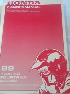 Honda TRX250 FourTrax Rec 1999 owners manual NOS $12.99 FREE SHIPPING