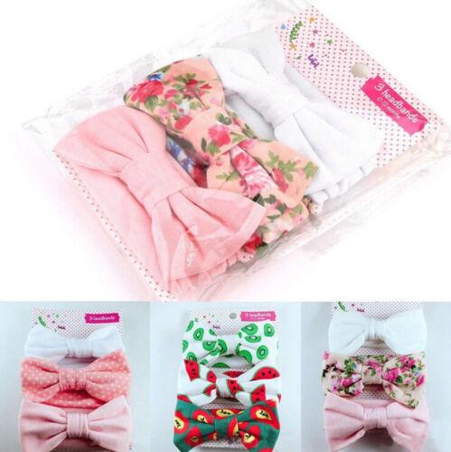 3XNewborn Headband Cotton Elastic Baby Print Floral Hair Band Girls Bow-knot M/&R