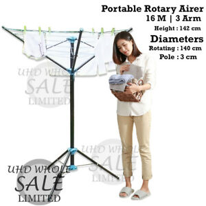3 arm 16m clothes airer portable rotary washing line free. Black Bedroom Furniture Sets. Home Design Ideas