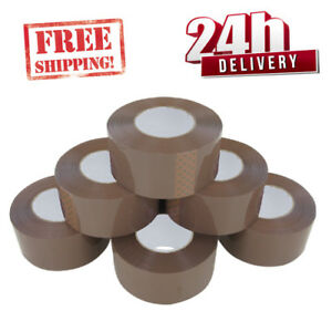 6-ROLLS-EXTRA-LONG-STRONG-LOW-NOISE-BIG-PARCEL-TAPE-48MM-X150M-BROWN-BOX-SEALIN