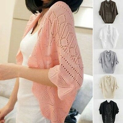 Women Crochet Knit Shawl Hollowed Shrug Cardigans Batwing Sleeve Top Sweaters