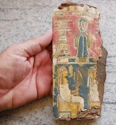 MAGNIFICENT 2500+ YR OLD ANCIENT EGYPTIAN ANKH & ATTENDANTS CARTONNAGE FRAGMENT