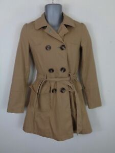 WOMENS-NEW-LOOK-BEIGE-BUTTON-UP-DOUBLE-BREASTED-BELTED-WINTER-COAT-JACKET-UK-8