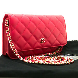 p19 CHANEL Red Pink Wallet On Chain WOC Shoulder Bag Crossbody ... b31c9c1f0a413