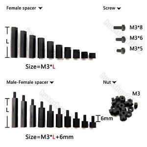 Black-Plastic-Nylon-M3-Hex-Column-Standoff-Support-Spacer-Screw-Nut-25-50-100pcs