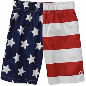 2dfa73774b Details about OP Youth Flag Swim Trunks Boys Swimsuit Size 4 to 18  Americana Patriotic USA