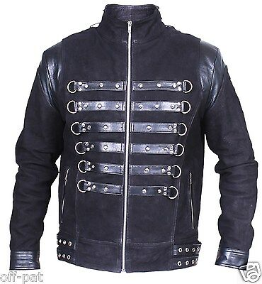 "REDUCED Black GOTH NUBUCK & TOP GRAIN LEATHER COAT Mans Punk Jacket 42"" Chest"