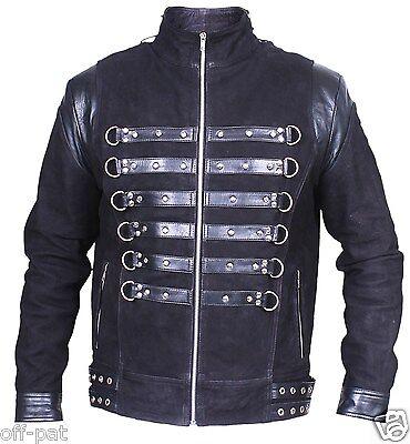 "REDUCED Black GOTH NUBUCK & TOP GRAIN LEATHER COAT Mans Punk Jacket 42"" Chest"